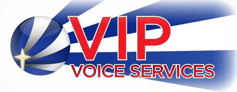VIP Voice Services stylized circular logo with Christian cross and blue and white stripes.