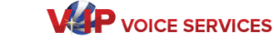 VIP Voice Services stylized logo and name, horizontal