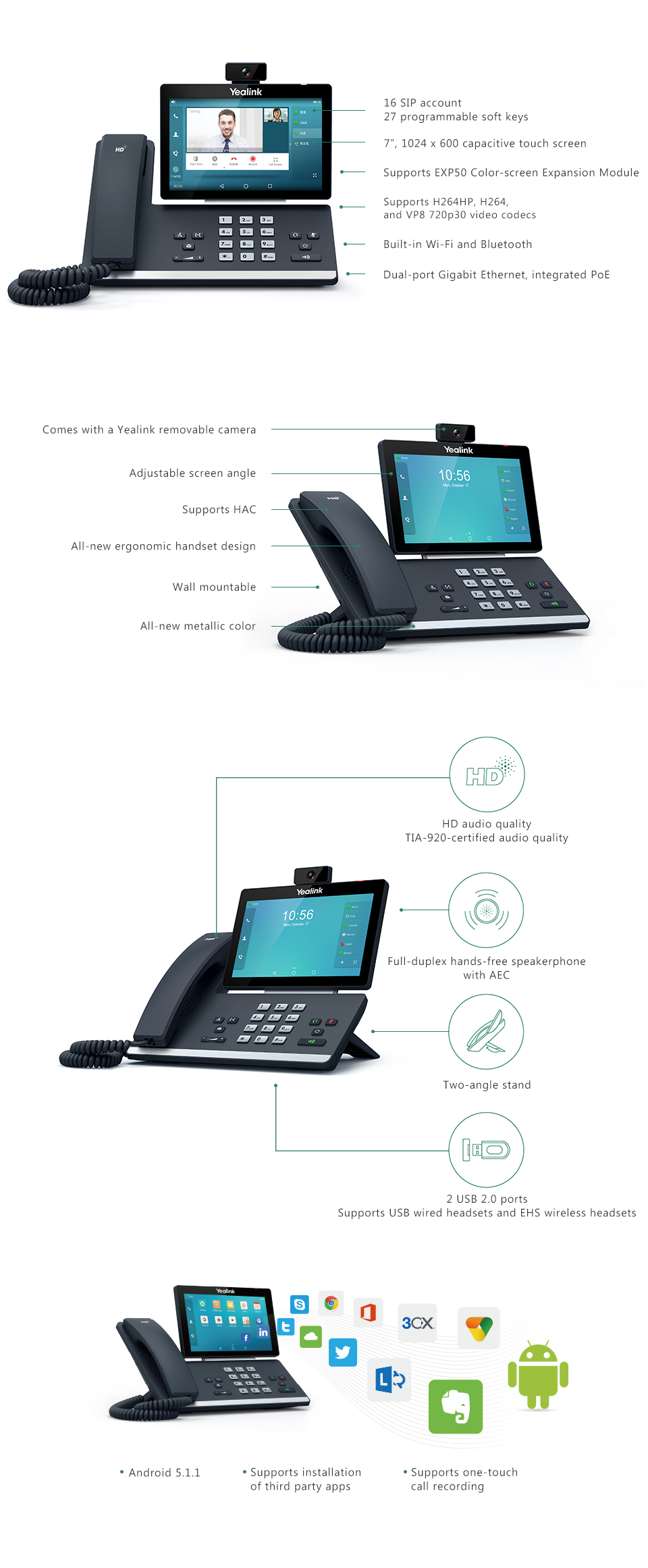 Yealink t58v phones infographic with product details